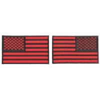 4 Inch Black And Red American Flag Patches Embroidered And Iron On