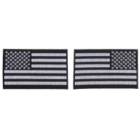 5 inch Black and White American Flag Patches with Black Borders, Left and Right 2 Piece Patch Set
