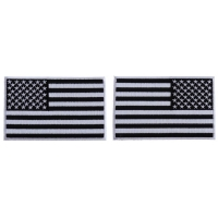 5 inch Black and White American Flag Patches with White Borders, Left and Right 2 Piece Patch Set