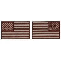 5 inch Brown American Flag Patches, Left and Right 2 Piece Patch Set