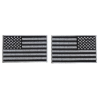 5 inch Gray American Flag Patches, Left and Right 2 Piece Patch Set