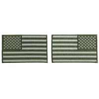 5 inch OD Green American Flag Patches, Left and Right 2 Piece Patch Set