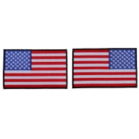 5 inch RWB American Flag Patch with Black Borders Left and Right 2 Patch Iron on Set