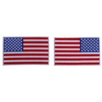 5 inch RWB American Flag Patch with White Borders Left and Right 2 Patch Iron on Set