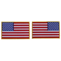 5 inch RWB American Flag Patch with Yellow Borders Left and Right 2 Patch Iron on Set