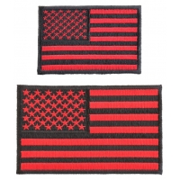 Black And Red US Flag Patches Set Of 2 Small Iron On Flags