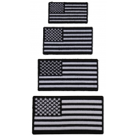 American Flag Patches Black White Small 4 Sizes