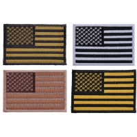 American Flag Patches In Subdued Colors Set Of 4 Small Embroidered US Flags