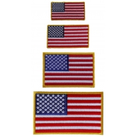 American Flag Patches Yellow Border 4 Small Sizes Embroidered Iron On