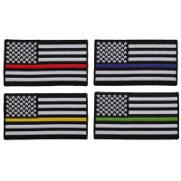 American Flags With Different Colored Thin Stripes For Servicemen