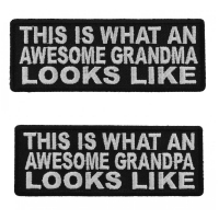 Awesome Grandma And Grandpa Funny 2 Piece Patch Set