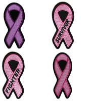 Breast Cancer Awareness Pink Ribbon Patch Set