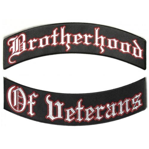 """BROTHERHOOD Black on White Back Patch Bottom Rocker for Biker Veteran Vest 10/"""""""