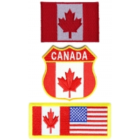 Canadian Flag Patches Embroidered 3 Flags