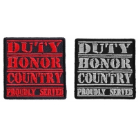 Duty Honor Country Patch White And Red Embroider Over Black 2 Patches