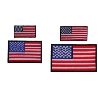 Embroidered American Flag Patches Black Borders 4 Small Sizes Iron On
