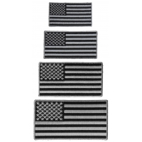 Gray Border American Flag Patches Set Of 4 Sizes