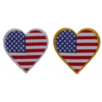 Heart Shaped US Flag Patches With Yellow And White Border Set Of 2