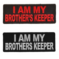 I Am My Brothers Keeper Patches Red White Embroidery On Black Patch 2 Pieces