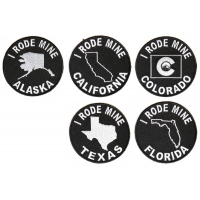 I RODE MINE BIKER Patches Alaska California Colorado Florida Texas States