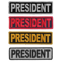 President Patches Embroidered In White Red Yellow Over Black And 1 Reflective Patch
