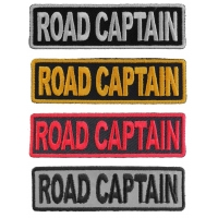 ROAD CAPTAIN Patches Embroidered In White Red Yellow Over Black And 1 Reflective Patch