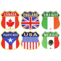 Shield Shaped Embroidered Flags Canada England Irish Mexico Puerto Rico USA Patches
