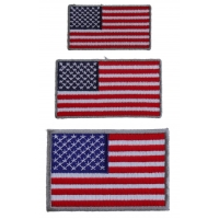 Small US Flag Patches Gray Borders 3 Embroidered American Flags