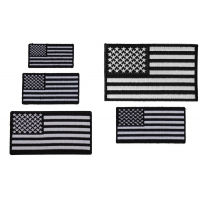 Small US Flag Patches In Black And White 5 Embroidered Iron On Flags