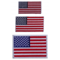 Small US Flag Patches White Border 3 Embroidered American Flags