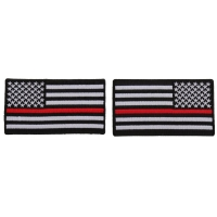 Thin Red Line American Flag Left And Right Patch For Fire Fighters | Embroidered Patches