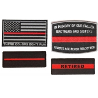 Thin Red Line Fire Fighter Patch Set Of 4 For Firefighters