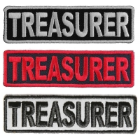 TREASURER Patches Embroidered In White Red Over Black And 1 Reflective Patch