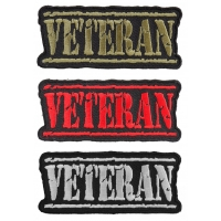 VETERAN Patches Red Green And White Embroidery Over Black Patch Set Of 3