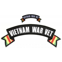 Vietnam War Vet 2 Piece Small Large Rocker Patch Set