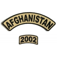 Afghanistan 2002 Rocker Patch 2 Pieces | US Afghan War Military Veteran Patches