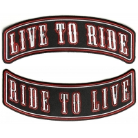 Live To Ride Ride To Live 2 Piece Biker Back Patch Set Of Upper And Lower Rockers