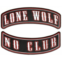 Lone Wolf No Club 2 Piece Back Patch Set