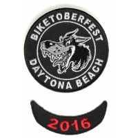 Biketoberfest Crazy Wolf Patch And Red 2016 Year Patch Combo