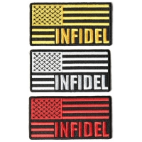 INFIDEL Patches With US FLAG Embroidered Set Of 3 Iron On Patches