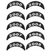Year Tab Patches 2000-2009 Small Upper Rockers Embroidered In Black And White