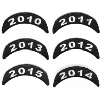 2010-2015 Year Patches Embroidered Black And White Small Stackable Top Rockers