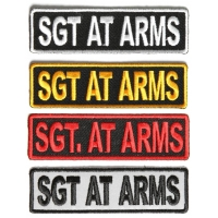 SGT AT ARMS Patches Embroidered In White Red Yellow Over Black And 1 Reflective Patch
