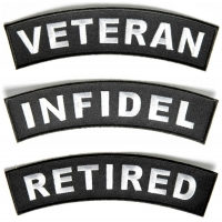VETERAN INFIDEL RETIRED Rocker Inserts For Flag Rocker Patches