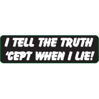 I Tell The Truth Except When I Lie Helmet Sticker