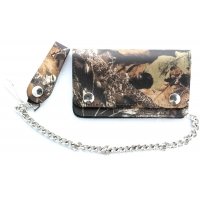 Leather Camouflage Small Wallet With Chain