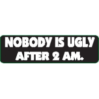 Nobody Is Ugly After 2Am Helmet Sticker