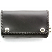Braided Small Black Leather Wallet With Chain