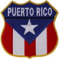 Puerto Rico Shield Flag Patch | Embroidered Patches