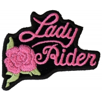 Pink Lady Rider Rose Biker Patch | Embroidered Biker Patches